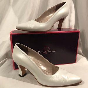 ⭐️EUC - Phyllis Poland - Shimmering White Heels